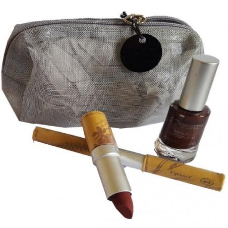 pochette makeup argento couleur caramel