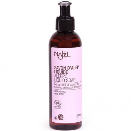 sapone d'aleppo liquido con acqua di rosa damascena