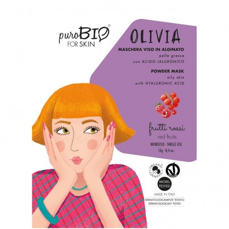 maschera viso peel off in alginato pelle grassa Olivia