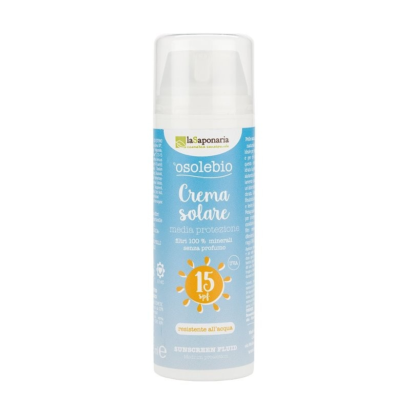 La Saponaria Crema solare pelli medie SPF 15