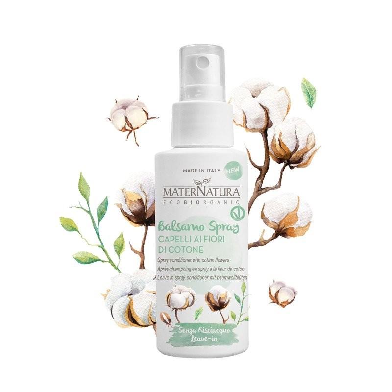 MaterNatura Balsamo spray capelli ai fiori di cotone